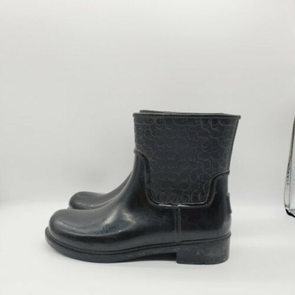 Coach Womens Black Embossed Ankle Rain Boots 10 B